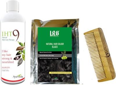 Lass Naturals Iht9 Hair Oil with Iht9 Natural Black Hair Colour +Neem Wood Hair Comb LC-3