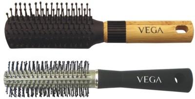 Vega Basic Mini - Flat Hair Brush R5-Fb With Basic Round Hair Brush R10-Rb