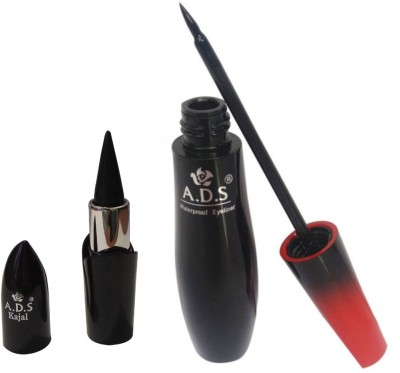 ADS Waterproof Eyeliner / PhotoGenic Ultimate Black Kajal(Set of 2)