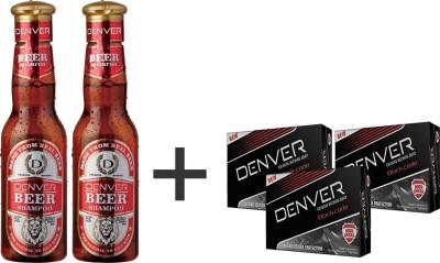 Denver Beer Shampoo 200 Ml (Pack of 2) and 3 Black Code Soap
