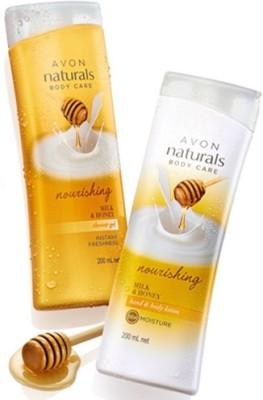 Avon Naturals Milk & Honey Hand & Body Lotion (200 ml) & Shower Gel (200 ml)