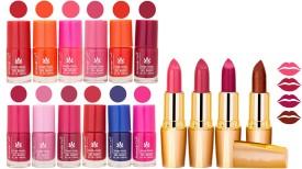 Aroma Care 12 Piece Vibrant Color Nail Polish Combo Set With 4 Rythm Creamy Matte Lipstick Combo 11(Set of)