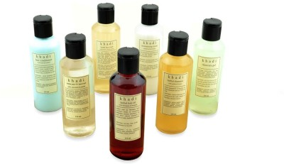 Khadi Natural Enriching Bath Kit of Bubble, Shampoo, Hair Oil, Gel & Conditioner