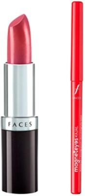 Faces Glam On Ultramoist Lipstick(Coraline)+Magneteyes Kajal