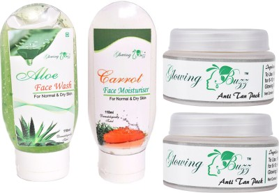 Glowing Buzz Combo for 1 Aloe Face Wash, 1 Carrot Moisturiser and 2 Natural Anti tan Pack for normal to dry skin