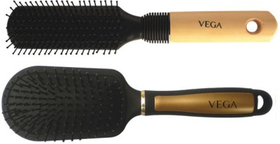 Vega Premium Flat Hair Brush E8-Fb With Premium Collection Cushioned Brush E14-Cb