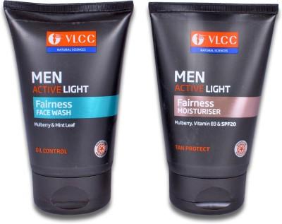 VLCC Men Active Light Fairness Face Wash & Fairness Moisturiser(Set of 2)