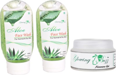 Glowing Buzz Combo of 2 Aloe Face Wash And 1 Herbal Aloe Vera Gel