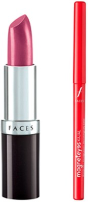 Faces Glam On Ultramoist Lipstick(Magenta)+Magneteyes Kajal