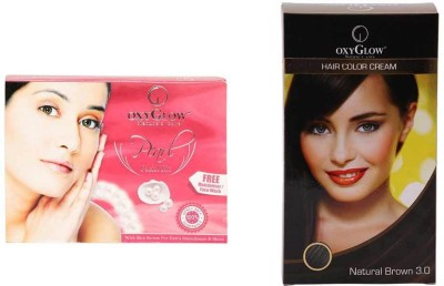 Oxyglow Pearl Facial Kit & Hair Colour Cream-Brown