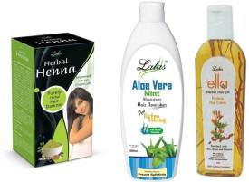 lalas Aloevera Mint Shampoo,Ella Herbal HairOil and Herbal Henna