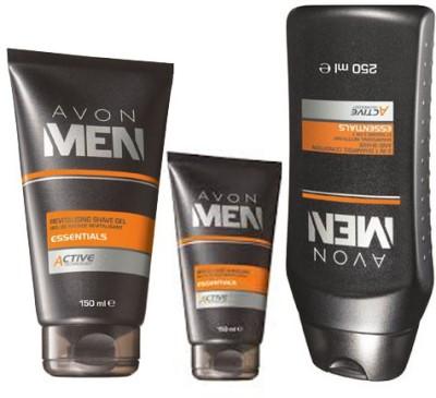 Avon Men 4 in 1 ACTIVE Shave Gel (150 g) + After Shave Balm (100 g) + Body Wash (250 ml)