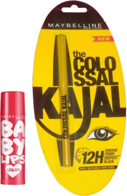 Maybelline Baby Lips Cherry Kiss and Colossal Kajal Combo(Set of 2)