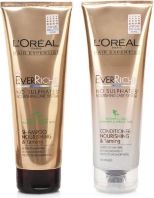 L,Oreal Paris Ever Riche Nourishing & Taming Shampoo 250mL + Conditioner 250mL