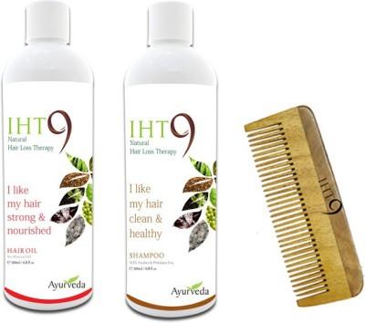 Lass Naturals Iht9 Hair Oil with Iht9 Hair Regrowth Shampoo+Neem Wood Hair Comb LC-3