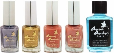 Anna Andre Paris Colorburst 1638 - Set of 4 Nail Polishes & Remover