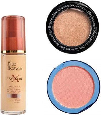 Blue Heaven X Factor Foundation (Natural), Silk On Face Compact (Pink) & Diamond Blush on 505