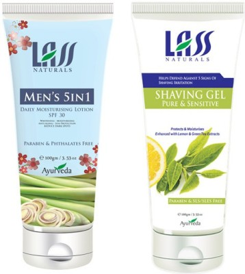 Lass Naturals Combo Of Men,S In 5 Cream And After Shave Gel