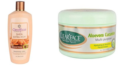 Clear Face Shea Extra Rich Almond Honey & Aloevera Cucumber Multi Purpose Facial Cream