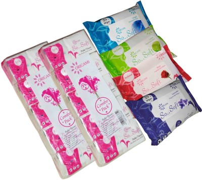 Origami 10 Pulls Pocket Tissue 10 In 1 (2 Pack), Wet Wipes 25 Pulls ( 4 Pack).
