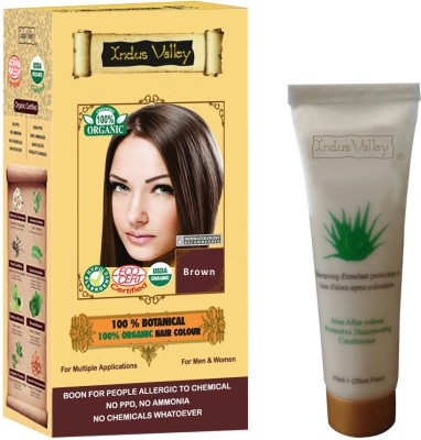 Indus valley Indus valley 100% Botanical Organic Brown hair color & Colour Protective Shampoo Combo Pack