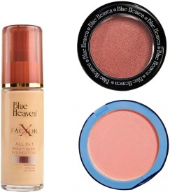 Blue Heaven X Factor Foundation (Natural), Silk On Face Compact (Pink) & Diamond Blush on 502