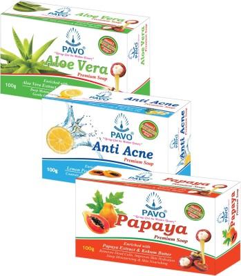 Pavo Aloe Vera & Papaya & Anit Acne Premium Soap (Pack of 3)