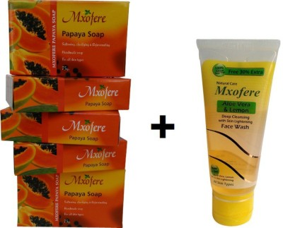 Mxofere Combo Papaya Soap And Aloevera Lemon Facewash Kit