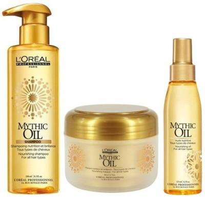 L,Oreal Paris Professionnel Mythic Oil Nourishing Shampoo (250 ml), Masque (200 ml) and Rich Hair Oil 125ml