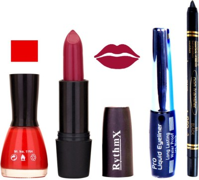 Rythmx Chilly Red Nail Polish Rose MauveLipstick With Eyeliner and Pro Non Transfer Black Kajal 68104
