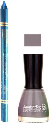 Fashion Bar Grey Nail Polish With Pro Non Transfer Turquoise Blue Kajal 94