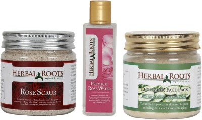 Herbal Roots Anti-ageing kit with Rose Scrub, Cucumber Face Pack/mask, Premium Rose Water