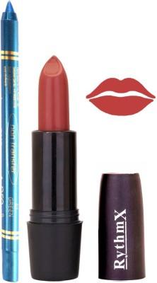 Rythmx Redish Brown Shades Lipstick And Pro Non Transfer Blue Kajal 2885