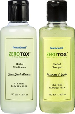 Healthbuddy Zerotox Herbal Rosemary & Jojoba Shampoo, 210ml And Green Tea & Aloevera Conditioner, 210ml