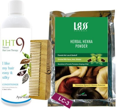 Lass Naturals Herbal Henna Powder with Iht9 Natural Hair Conditioner+Neem Wood Hair Comb LC-3