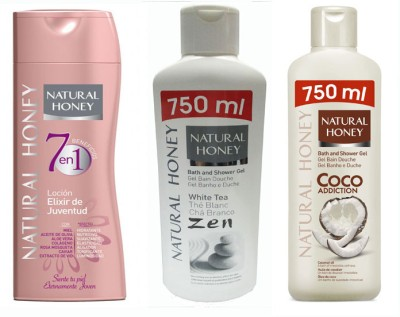 Natural Honey Body Lotion 7 in 1 Youth Lotion & White Tea Shower Gel & CoConut Oil Shower Gel