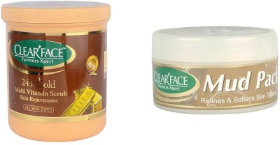 Clear Face 24 K Multi Vitamin Scrub Skin Rejuvenator & Mud Pack 250 Gm