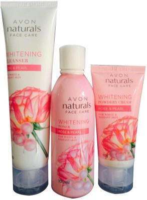 Avon Naturals Rose & Pearl Whitening cleanser, Toner and Powdery Cream