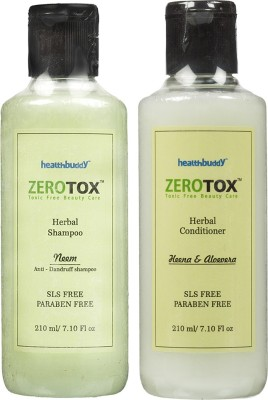 Healthbuddy Zerotox Herbal Neem Anti Dandruff Shampoo, 210ml & Herbal Conditioner Heena & Alovera, 210ml