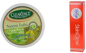 Clear Face Neem Tulsi Face Pack (Enriched With Aloevera) With Skinglow Cream