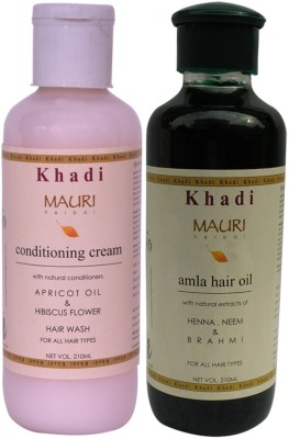 Khadimauri Conditioning Cream Shampoo & Amla Hair Oil Combo Pack of 2 Ayurvedic Natural 210 ml each