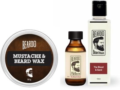 Beardo The Blood & Sand Beard Oil (30ml), Wash (100ml) & Wax (50g) Combo