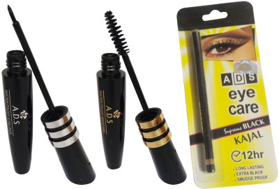ADS Water Proof Eye Liner / Mascara / Kajal(Set of 3)