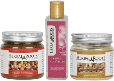Herbal Roots Anti Blemish Pigmentation Kit - Apricot Scrub, Sandalwood Face Pack and Rose Water For Face Treatment