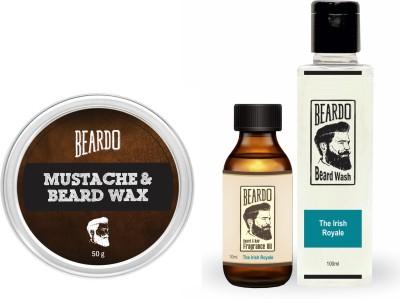 Beardo The Irish Royale Beard Oil (30ml), Wash (100ml) & Wax (50g) Combo