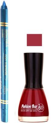 Fashion Bar Redish Mauve Nail Polish With Pro Non Transfer Turquoise Blue Kajal 67