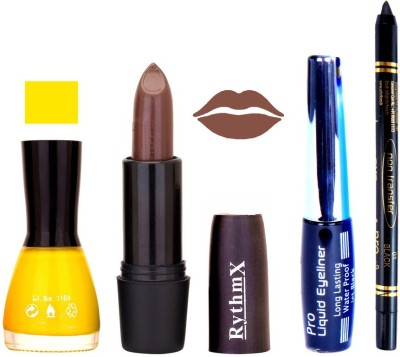 Rythmx Yellow Nail Polish Brown Lipstick With Eyeliner and Pro Non Transfer Black Kajal 68091
