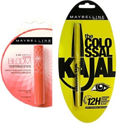 Maybelline Bloom Color Changing Lip Balm-Peach Blossom Strawberry(1.7 g) and Colossal Kajal Combo(Set of 2)