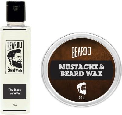 Beardo The Black Velvette Beard Wash (100ml) & Wax (50g) Combo