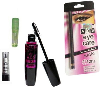 ADS 1625 Mascara, Kajal, Eye Care Kajal, Lip Gloss(Set of 4)